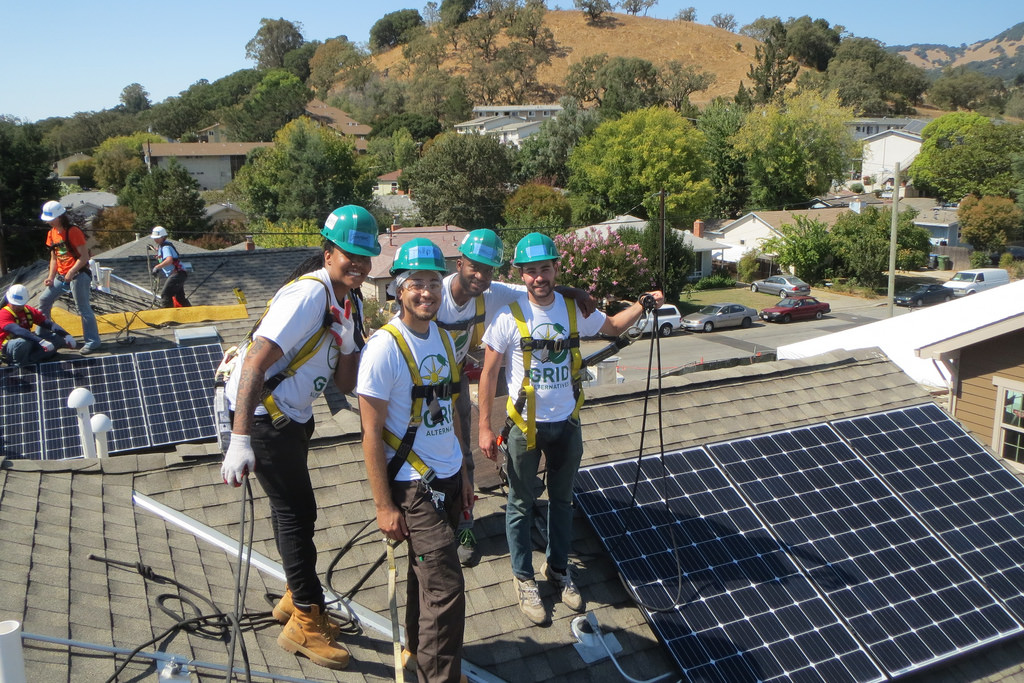 1 of the 9 Solarthon volunteer teams that installed solar at Mt. Burdell Place in September 2016.
