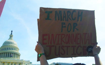 I march for environmental justice sign held up in front of the capitol building