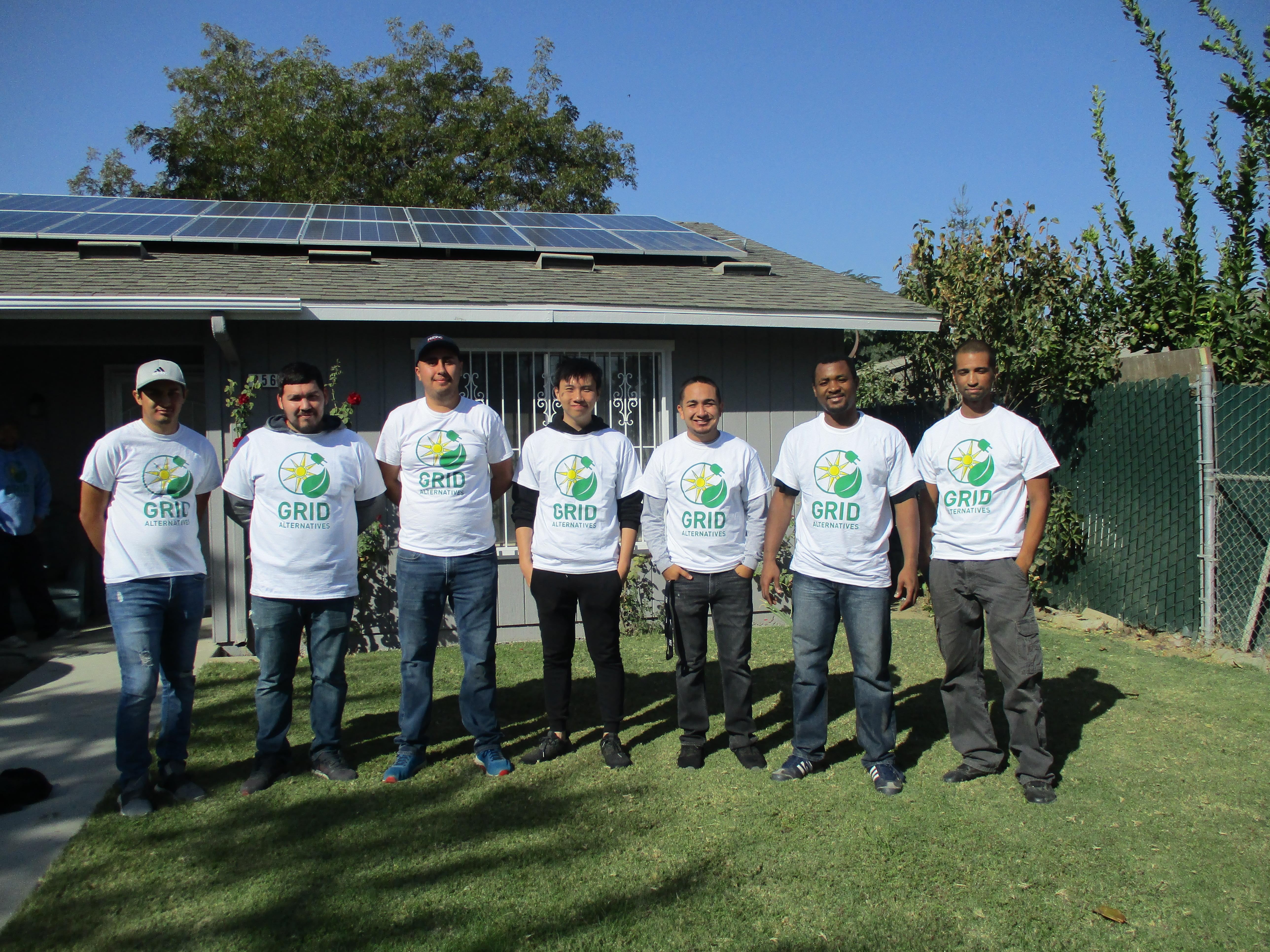 Volunteers at a solar installation
