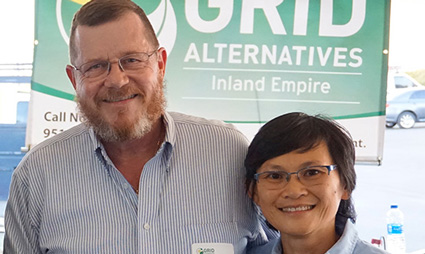 George Puddephatt and Bambi Tran smile for the camera.
