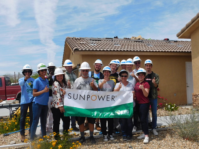 University of Nice, France students and GRID IE volunteers and construction team with homeowner Gordon Countryman