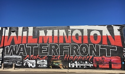 A mural stands in Wilmington