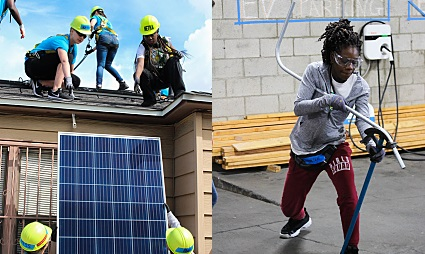 A trainee participates in two different aspects of solar installation