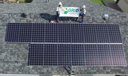 Aerial view of solar system on home