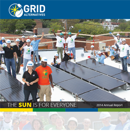 Thumbnail image of 2014 Annual Report showing a large group of GRID staff and trainees celebrating on the roof of a multifamily project