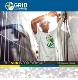Thumbnail image of 2015 Annual Report showing job trainee adjusting a solar panel with the sun dramatically highlighting his hard hat