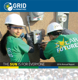Thumbnail image of 2016 Annual Report cover showing Solar Futures students working at an electrical box