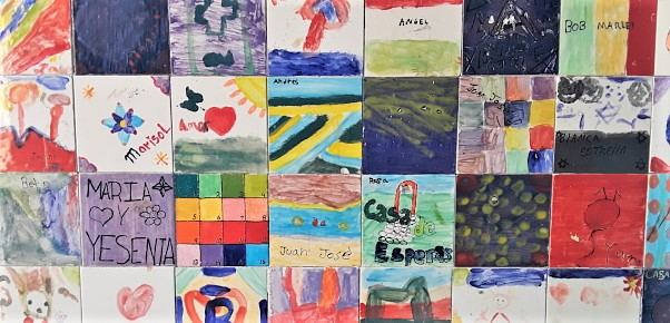 The children's artwork.