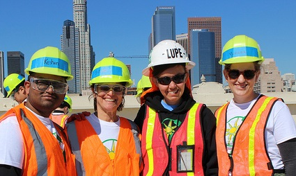 Downtown Women's Center installers look happy during installation