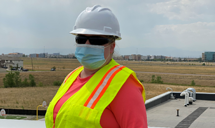 Nissa works on solar installation