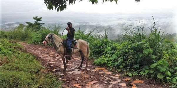 A man on a horse rides along the path into the community.