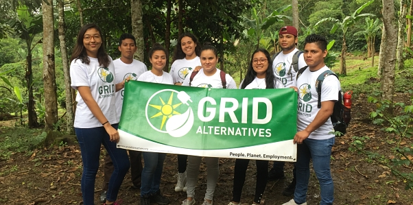 Nicaraguan participants with the GRID banner