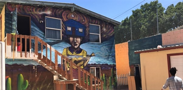 A mural painted on the side of the orphanage.