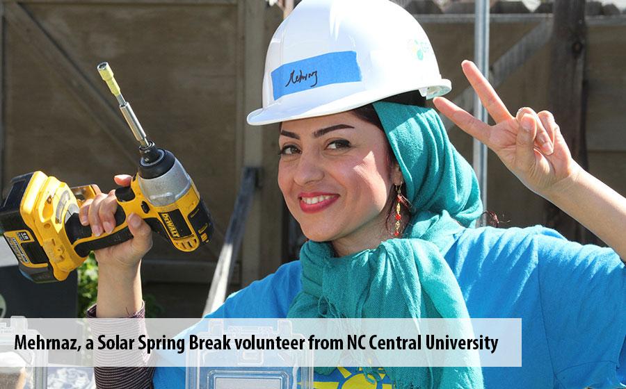 Mehrnaz, a solar spring break volunteer from NC Central University
