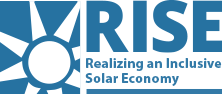 RISE logo with sunburst and the subtitle Realizing an Inclusive Solar Economy