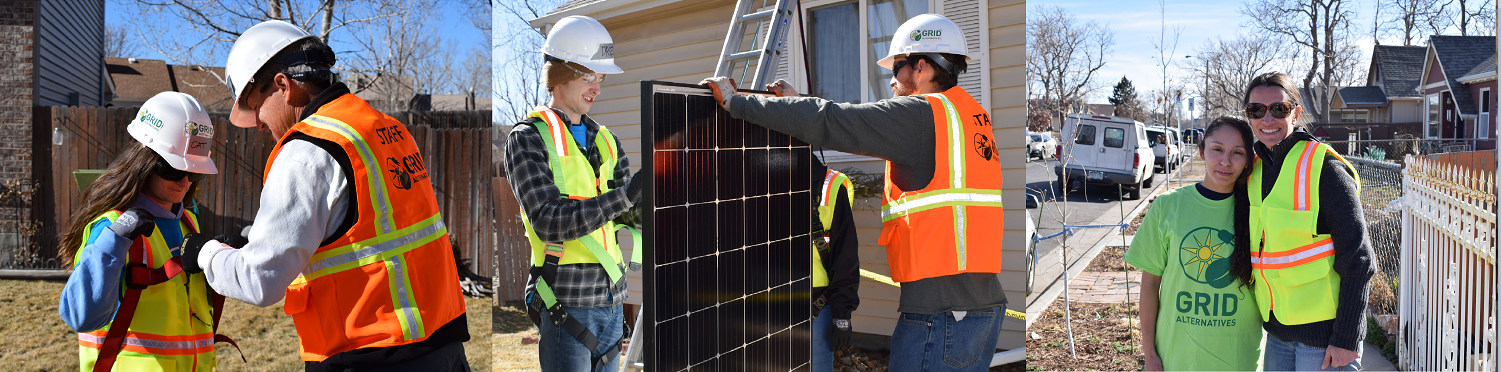 (from left) 1.) GRID staff helps a student put a harness on. 2.) Two people stand holding a solar panel, one of them is looking down at the back of the panel. 3.) Yvonne and Pamela.